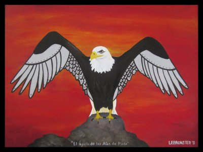 Silver Winged Eagle (acrylic & sharpie over canvas) - February, 2011