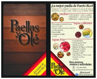 Paellas y Olé (Flyer/Menu, Front & Back) - July, 2011